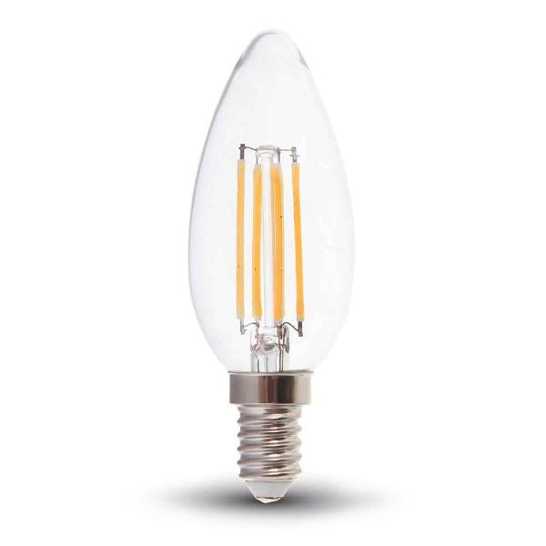 V-TAC VT-2127 LAMPADINA LED E14 6W FILAMENTO BIANCO CALDO A CANDELA LED7423