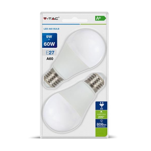 V-TAC VT-2139 LAMPADINA LED E27 9W BIANCO CALDO BLISTER 2 PEZZI LED7294