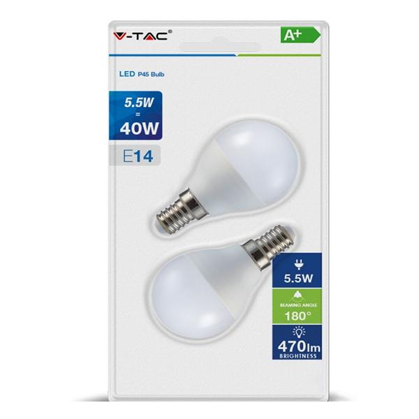 V-TAC VT-2146 LAMPADINA LED E14 5,5W BIANCO CALDO A BULBO 2 PEZZI LED7355