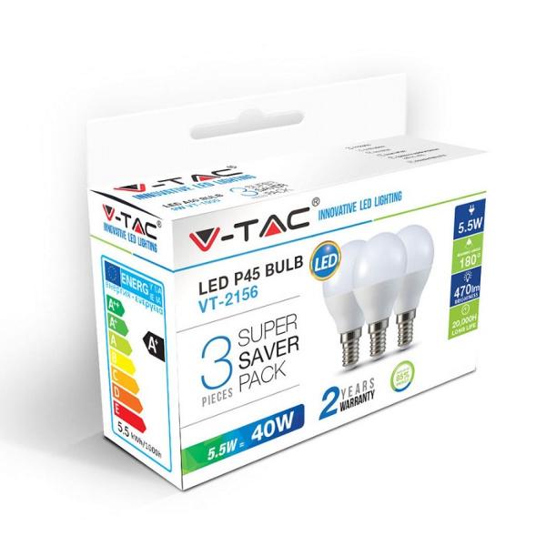 V-TAC VT-2156 LAMPADINA LED E14 5,5W BIANCO CALDO A BULBO 3 PEZZI LED7357