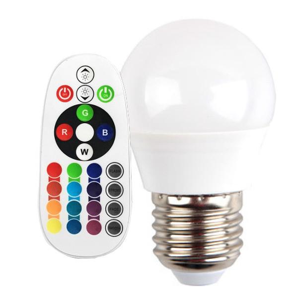 V-TAC VT-2224 LAMPADINA LED E27 3,5W A MINIBULBO MULTICOLORE RGB E NATURALE RADIOCOMANDO LED2773