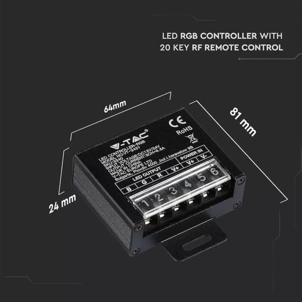 V-TAC VT-2421 CONTROLLER STRISCE LED RGB 20 TASTI CON TELECOMANDO RADIO LED3340