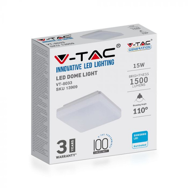 V-TAC VT-8033 PLAFONIERA LED QUADRATA 15W LUCE BIANCO CALDO IP44 SAMSUNG LED13909