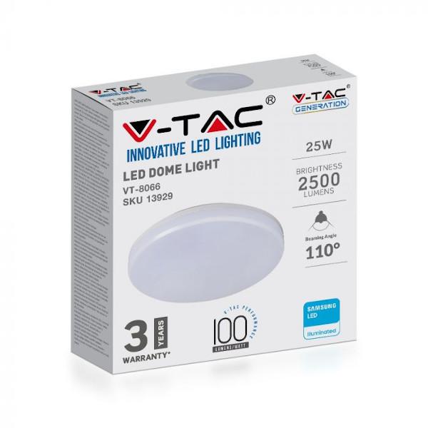 V-TAC VT-8066 PLAFONIERA LED TONDA 25W LUCE BIANCO NATURALE IP44 SAMSUNG LED13939