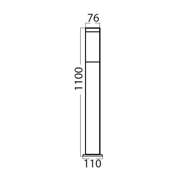 V-TAC VT-838G PORTALAMPADA DA TERRA 1 X E27 ACCIAIO INOX GRIGIO SCURO IP44 110 CM LED8963