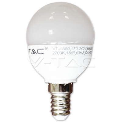 v-tac VT-1880 LAMPADINA LED E14 6W BIANCO CALDO A BULBO LED4250