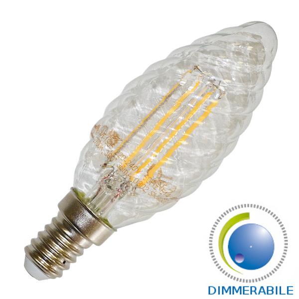 v-tac VT-1986D LAMPADINA LED E14 4W FILAMENTO CALDA A TORTIGLIONE DIMMER. LED4367