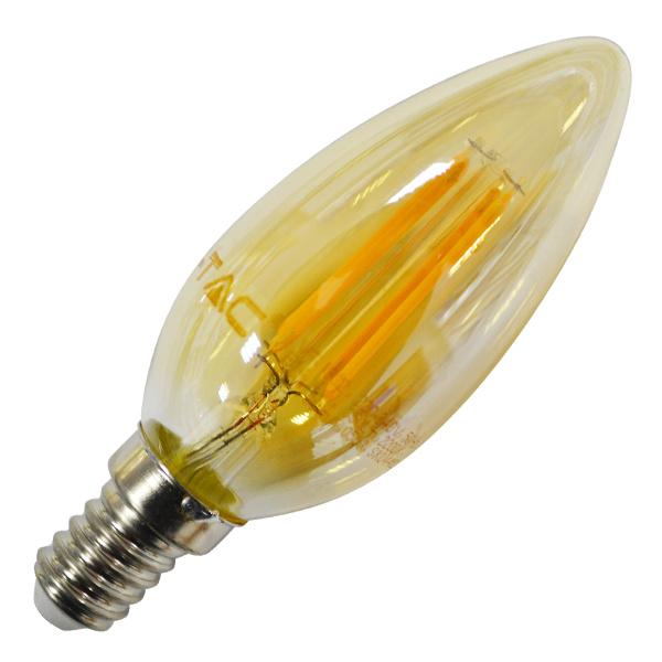 v-tac VT-1955 LAMPADINA LED E14 4W FILAMENTO BIANCO CALDO A CANDELA A LED7113