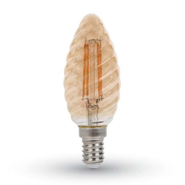 v-tac VT-1948 LAMPADINA LED E14 4W FIL. AMBRA BIANCO CALDO A TORTIGLI LED7115