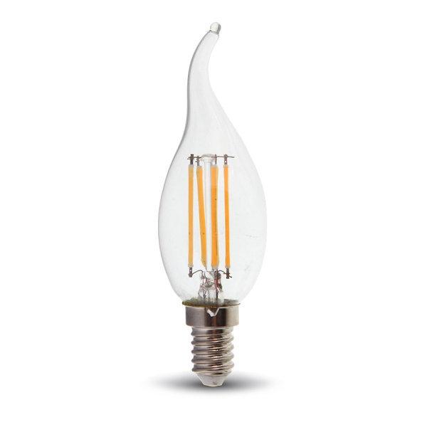 v-tac VT-1997 LAMPADINA LED E14 4W FILAMENTO BIANCO CALDO A FIAMMA LED4302