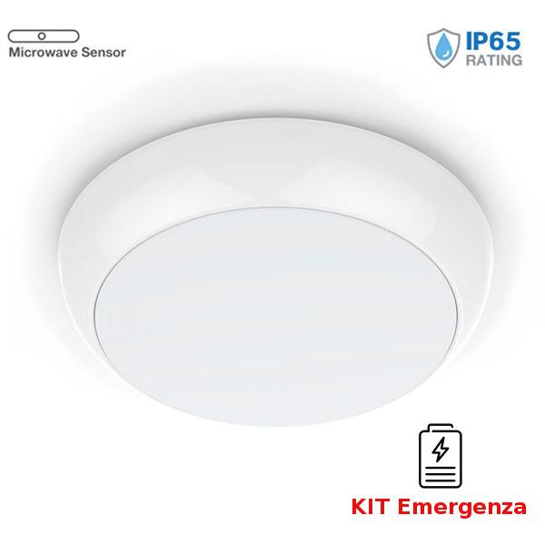 v-tac VT-19 PLAFONIERA LED 17W NATURALE IP65 SENSORE E EMERGENZA CHIP SAMSUNG LED812