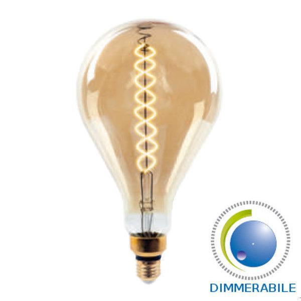 LAMPADINA LED E27 FILAMENTO A160 8W CALDO AMBRA DIMMERABILE