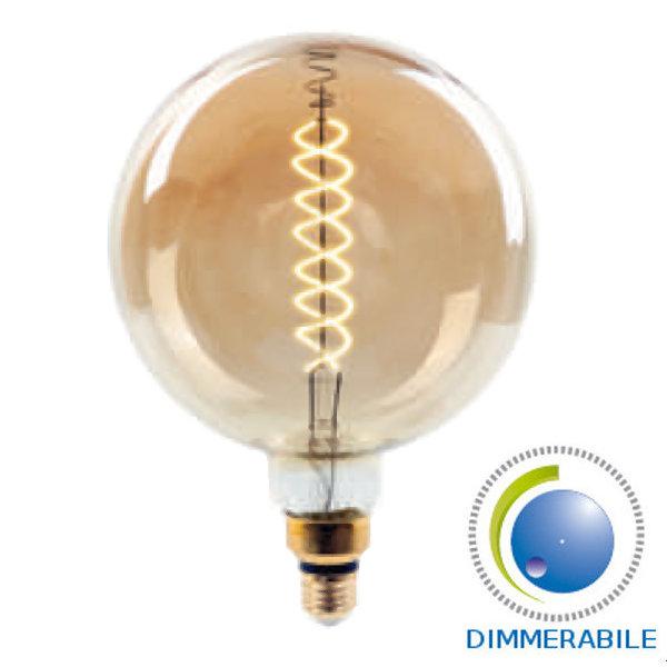 LAMPADINA LED E27 FILAMENTO A200 8W CALDO AMBRA DIMMERABILE