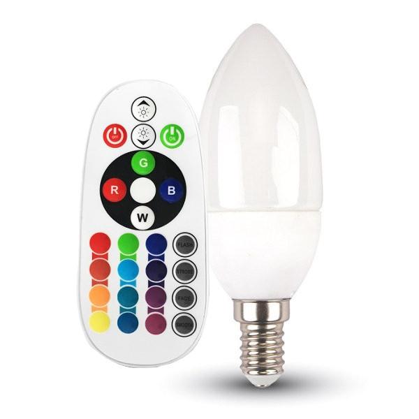 v-tac VT-2214 LAMPADINA LED E14 3,5W A CANDELA MULTICOLORE RGB E BIANCO NATURALE RADIOCOMANDO LED2770