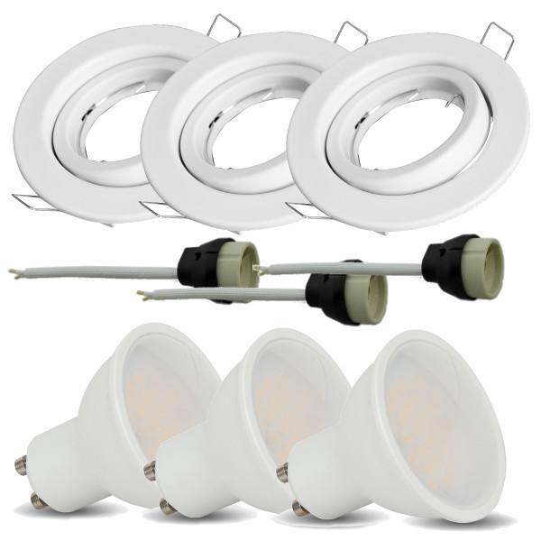 v-tac VT-3333 KIT 3 FARETTI INCASSO BIANCO CON LAMPADA LED 5W BIANCO NATURALE ORIENTABILE LED8882