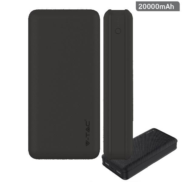 v-tac VT-3502 POWER BANK RICARICA CELLULARI 20000MAH  2USB NERO LED8190