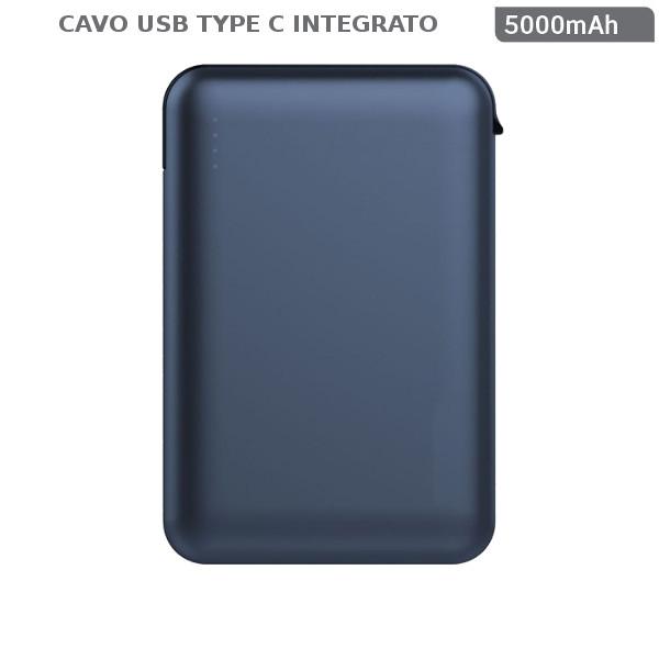 v-tac VT-3510 POWER BANK RICARICA CELLULARI 5000MAH N1 USB N1 CAVO TYPE C BLU LED8868