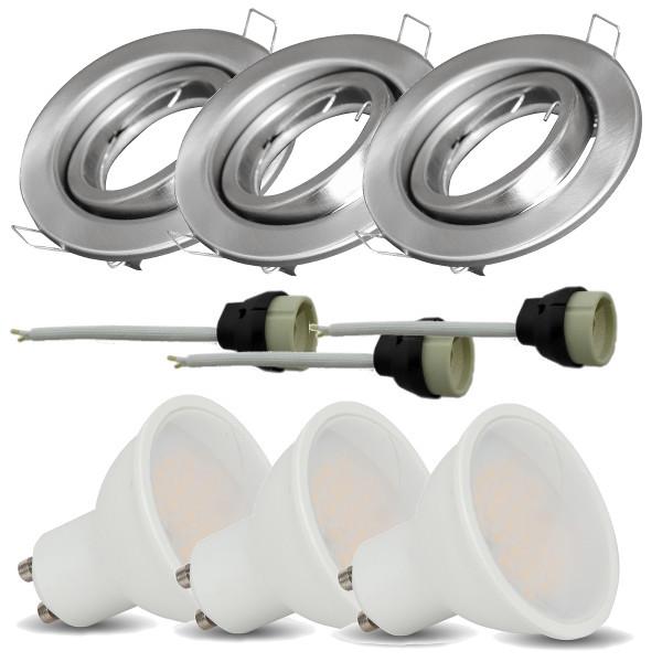 v-tac VT-4444 KIT 3 FARETTI INCASSO SATINATO CON LAMPADA LED 5W BIANCO NATURALE ORIENTABILE LED8885