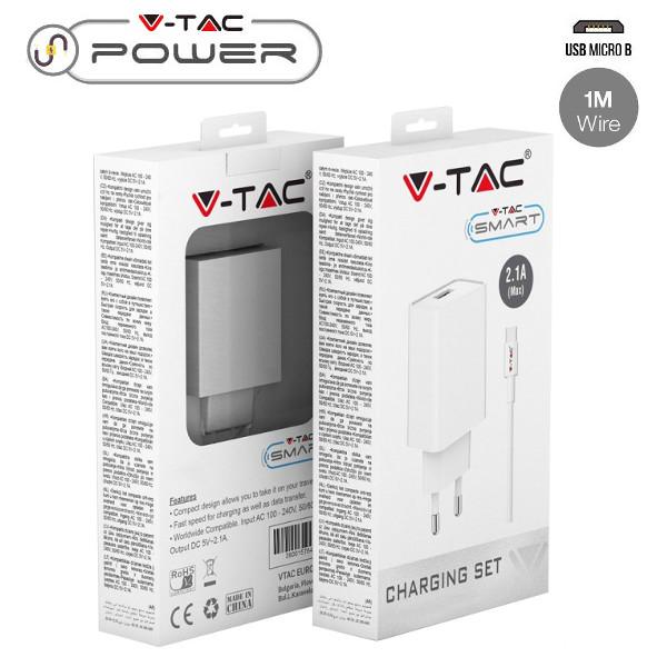 v-tac VT-5371 KIT CARICABATTERIA USB 5V 2,1A BIANCO E CAVO MICRO USB IN BLISTER LED8645