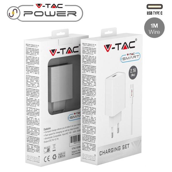 v-tac VT-5372 KIT CARICABATTERIA USB 5V 2,1A BIANCO E CAVO USB TYPE C IN BLISTER LED8647