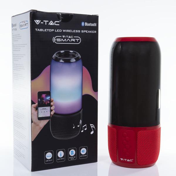 v-tac VT-1043 SPEAKER BLUETOOTH CON LAMPADA 3W MULTICOLORE ROSSO LED8571